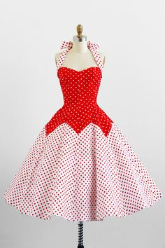 6b459b723cb0 Robe rouge et blanche, style vintage rockabilly dress / dress / Victor  Costa Style Red and White Polkadot Dress