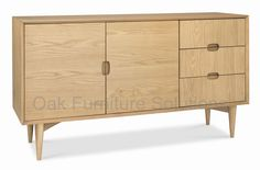 Shop for an Oslo Oak Wide Sideboard. Featuring two doors and three drawers, this retro inspired design is a practical and versatile storage solution. The attention to detail such as the feature handles and engineered mitre joints show the quality. Solid Wood Sideboard, Sideboard Buffet, Wabi Sabi, Oslo, Online Furniture, Home Furniture, Furniture Village, Danish Furniture, Wood