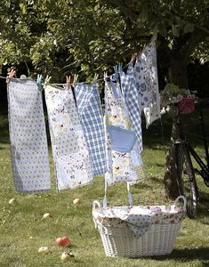 Fresh laundry on the line.