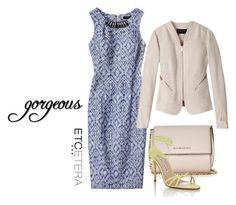 """""""Etcetera: SWAG dress with beaded neckline. NUTSHELL linen jacket."""" by etcetera-nyc ❤ liked on Polyvore featuring Etcetera, Givenchy, Manolo Blahnik, WorkWear, cocktails, etceteracollection, etceteranyc and summer2016"""