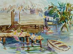 Living on the Water ©Xueling Zou; home decor, wall art, gift, greeting cards, posters, prints, original, corporate art, $6.00, for sale, landscape, tropical, outdoors, boats, hut, people, fishing, fisherman, living, on the water, life style, asia, asian, thailand, watercolor, watercolour, watercolors, watercolours, painting,