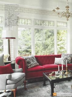 love red, black, and white, and the luxurious and feminine couch