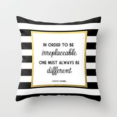 Coco Gold Fashion Quote Throw Pillow by Poppy Loves To Groove - $20.00