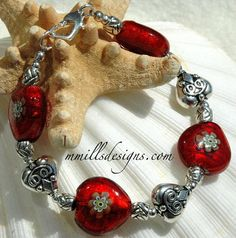 Red Millefiori Heart Bracelet by mmillsdesigns on Etsy, $35.00