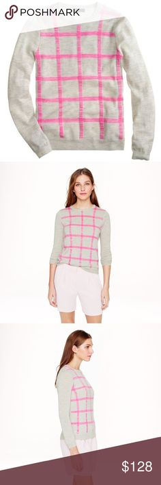 J Crew Italian Cashmere Grid Sweater Perfect condition, and super soft! J. Crew Sweaters Crew & Scoop Necks
