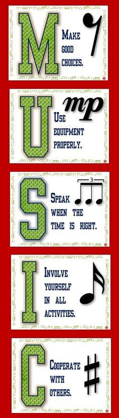 Music Class Rules POSTERS Set 2! There is one poster/page for each letter in the word MUSIC and one rule per letter.