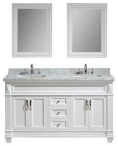 "Hudson 60"" Double Sink Vanity Set, White Finish, White Marble Countertop"