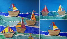 Boats and sea, cut and torn paper