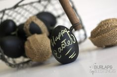 Burlap Easter Eggs and Chalkboard Paint Easter Eggs Tutorial.