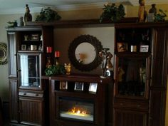 Entertainment center with faux fireplace!