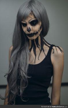 Awesome halloween makeup! #skeleton @toricormier scaryyyy