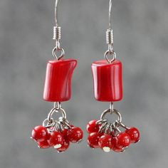 Red coral dangling chandelier Earrings Bridesmaids gifts Free US Shipping handmade Anni Designs