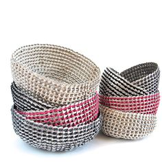 Turning waste into beauty! These ingenious hand crocheted baskets are made using recycled aluminum soda can tabs. Helping keep mother earth a bit cleaner this process is linked to an unwavering commit