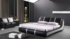 C025 Modern Bed in Black and White Leather | FurnitureGalleryNYC.com