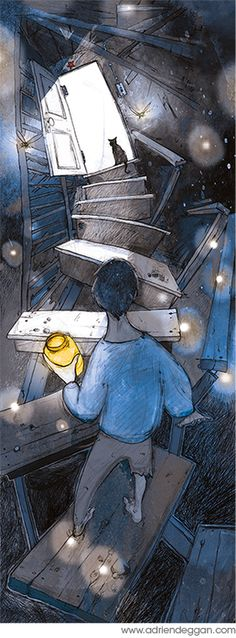 Adventures with your cat in the cellar... Illustration Work (children's books) by Adrien Deggan, via Behance