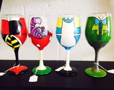 Alice in Wonderland inspired wine glass. by TheNerdEffect on Etsy