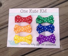 Set of 6 Hair Clips for infants baby girls and by OneKuteKid