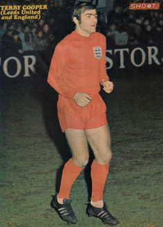 25th February 1970. England left back Terry Cooper running out to face Belgium, at the Stade Emile Verse, Brussels.