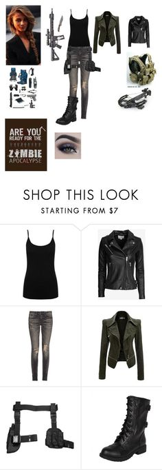 """""""Zombie Apocalypse Outfit for Women"""" by aliciakreb ❤ liked on Polyvore featuring M&Co, IRO and R13"""