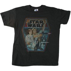 Junk Food Star Wars T-Shirt - Adult Retro Star Wars T-Shirts ($29) ❤ liked on Polyvore featuring tops, t-shirts, shirts, tees, shirt tops, junk food clothing, retro tees, t shirt and tee-shirt