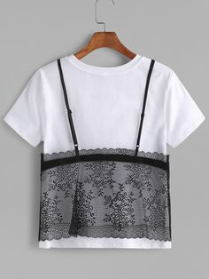 Contrast Floral Lace Cami Overlay T-shirt -SheIn(Sheinside)