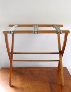Vintage Simple Wooden Wood Folding Luggage Suitcase Stand Rack ...
