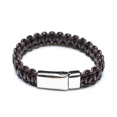 Polished Coffee Woven Leather Bracelet, 00657