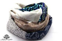 Rundschal Schal beige dunkelblau von #Lieblingsmanufaktur: ein ausgefallenes Unikat
