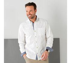 Košeľa s potlačou s detailmi z plátna chambray Chambray, Shirt Dress, Mens Tops, Shirts, Dresses, Fashion, Shirtdress, Gowns, Moda