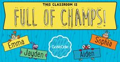 Go Noodle Champ Door Decorations to personalize for your class! Log into your Go Noodle account to view Classroom Bulletin Boards, New Classroom, Classroom Setup, First Grade, Second Grade, Teaching Resources, Teaching Ideas, Brain Break Videos, Classroom Behavior Management