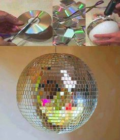 Easy Old CD Projects Ideas DIY For Home Decoration. DIY old cd crafts ideas tutorial with steps of making cd clock, cd lamps and candle stand Deco Disco, Diy Projects To Try, Craft Projects, Craft Ideas, Decorating Ideas, Ideas Innovadoras, Upcycling Projects, Decor Ideas, Diy Luminaire