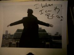 """Benedict Cumberbatch signed this ""I believe I can fly.""."" Sorry for the language, but that's hilarious."
