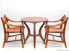 Wooden Armchair Built from Instrument Grade, Curly Acacia Koa, for Dining Tables, Boardroom Tables, or Occasional Chairs in a Matching Set Chair Design, Furniture Design, Wooden Canoe, Wooden Armchair, Table And Chairs, Dining Tables, Thing 1, Small Tables, Occasional Chairs
