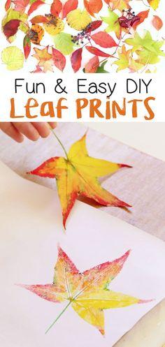 Easy Fall Craft Idea For Kids! DIY Leaf Prints