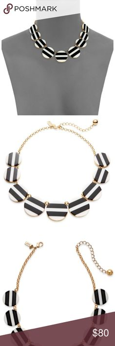 Kate Spade New York Dot Dot Dot Striped Necklace Details  Add a statement to any look with the fashionable Kate Spade New YorkTM Dot Dot Dot Striped Necklace.  Gold-tone, chain-link necklace.  Multiple circular pendants with stripes throughout.  Adjustable, lobster claw closure. Gift bag included. kate spade Jewelry Necklaces