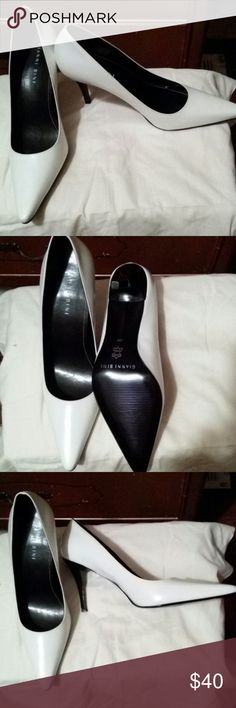 Never worn Gianni Bini Pointed toe pumps White with black skinny heel Gianni Bini Shoes Heels