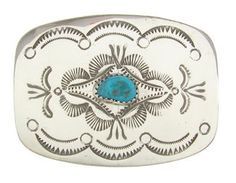 Sterling Silver And Turquoise Jewelry Navajo Belt Buckle QS57427