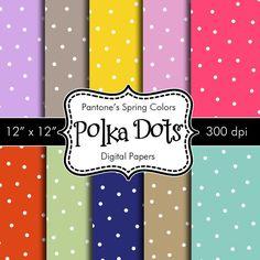 Pantones Spring Colors Polka Dots Digital Papers by HeadsUpGirls, $4.50