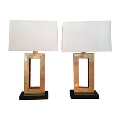 Image of Modern Robert Abbey Brass Lamps - A Pair