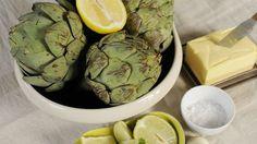 Kronärtskocka, citron, lime, salt, smör.