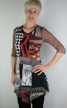wearable art for women. Fun, stretchy, comfortable and colorful fabrics.  The tops are made from different knit fabrics like soft woolens, light silks or stretch cottons in various colors and prints.