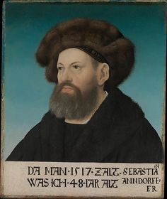 Sebastian Andorfer (1469–1537) Hans Maler  (German, Ulm, born ca. 1480, died ca. 1526–29 Schwaz (?)) Date: 1517 Medium: Oil on wood Dimensions: 17 x 14 1/8 in. (43.2 x 35.9 cm) Classification: Paintings Credit Line: The Friedsam Collection, Bequest of Michael Friedsam, 1931 Accession Number: 32.100.33