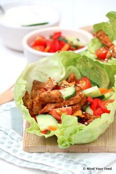 Sla wraps met kip, rauwkost en tzatziki