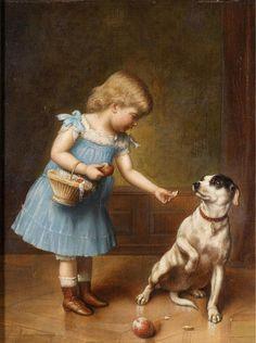 Jeune fille alimentation d un chien de Carl Reichert (1836-1918, Germany)