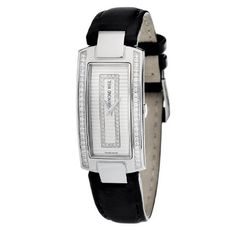 01cb2f42536 Raymond Weil Womens 1500ST142381 Shine Diamond Accented Black Leather Watch      Click on the image for additional details.