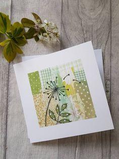 Dandelions, dandelion card, dandelion art, greeting card, textile print card, blank card, botanical art, botanical card, contemporary card,