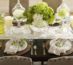 placing water & hydrangeas for a stunning table  -- Pottery Barn