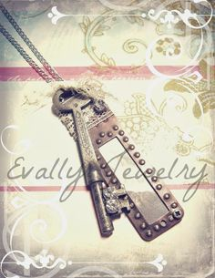 Evally: Evally Jewelry(Mixed Media Necklace, Key and Diamonds, Industrial)