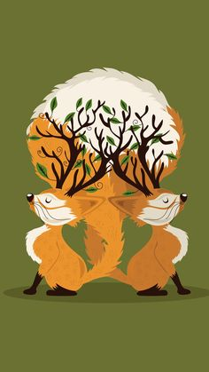 ↑↑TAP AND GET THE FREE APP! Art Two Foxes Green Trees Orange Animals Cute  Drawing Funny HD iPhone 6 plus Wallpaper