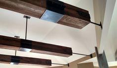 Wooden industrial beams.  Meyer Design Industrial Home Design, Industrial House, Barrel Vault Ceiling, Copper Ceiling, Princess Bedrooms, Craftsman Exterior, Amazing Spaces, Indoor Outdoor Living, Classic House